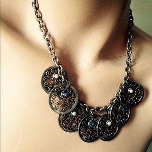 Necklace Brass Scroll Discs,Pearls & Rhinestones